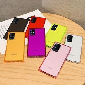 Square Bumper Soft Case Crystal Clear Square Silicone Cover For Samsung Galaxy