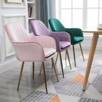 Modern Colorful Velvet Cushion Gold/Chrome Legs Bedroom Chairs Lounge Cafe Seats