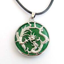 Green Jade Alloy Metal Happy Lucky Dragon Phoenix Amulet Pendant