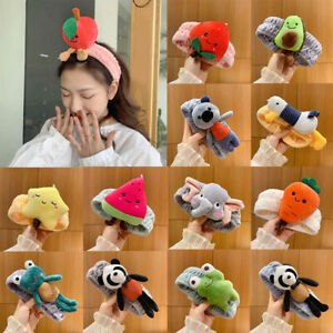 Women Coral Fleece Headband Cartoon Plush Fruit Animals Hair Band Washing Face