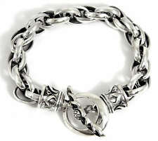 TRIBAL 925 STERLING SILVER CHAIN DESIGNER MEN'S BRACELET ROCKER NEW GOTHIC BIKER