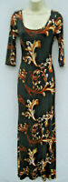 Point bodycon Maxi dress Size Small brown floral cut out polyester blend stretch
