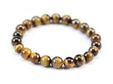 "Stretchy Tibetan 22 8mm Tiger Eye Gemstone Prayer Beads Wrist Mala Bracelet -6"""