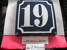 Hausnummer Emaille Nr. 19 weisse Zahl auf blauem Hintergrund 14 cm x 14 cm #