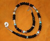 Navajo Tommy Singer Sterling Onyx Multistone Necklace Native American