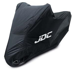JDC Waterproof Motorcycle Cover Motorbike Breathable Vented Black Top Box - RAIN