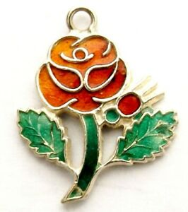 Red rose of Lancashire vintage sterling silver enamel charm in shape of a rose