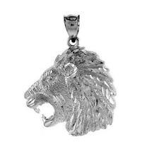 5.6 gram Sterling Silver Lion`s Head Large Pendant