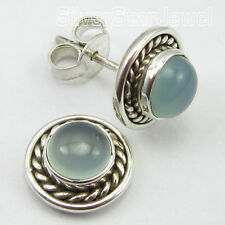 NEW HANDMADE Post Earrings 1.0 CM ! 925 Sterling Silver, AQUA CHALCEDONY Gemset