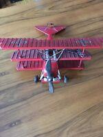 Metal Vintage Airplane Model Red Aviation Decor Silver Propeller Antique