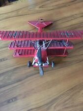 Metal Vintage Airplane Model Red Aviation Decor Silver Propeller Antique