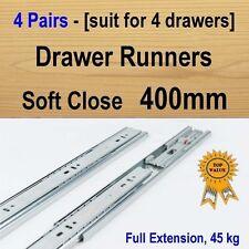 4 pairs soft close ball bearing drawer runners / Slides Kitchen Vanity - 400mm