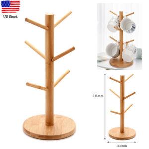Bamboo Wood Mug Cup Tree Drying Holder Stand Rack Shelf Storage Kitchen rganizer
