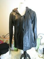 PHILOSOPHY DI ALBERTA FERRETTI Jacket Leather Sz 16 Large Hood  Italy 🎁NWT
