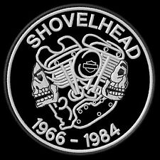 Shovelhead 1966-1984 Patch Aufnäher Panhead Softail Biker Kutte Chopper MC Scull