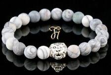 Jaspe Blanc Gris - Argenté Tête de Lion - Bracelet Bracelet Bracelet de Perles
