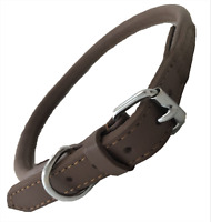 HAND-MADE BROWN SOFT GENUINE LEATHER ROLLED DOG COLLAR TRAINING STRONG LABRADOR