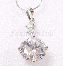 fashion1uk White Gold Plated Clear Simulated Diamond Necklace Pendant Chain