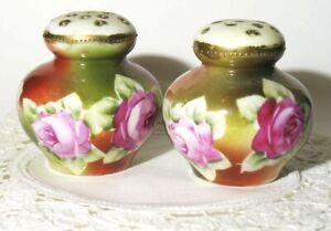 Antique Porcelain SALT & PEPPER Sugar Shakers Hatpin Holders Pink Green ROSES