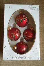 4 TESORI unici realizzati a mano vetro albero di Natale palline ornamenti in vetro rosso