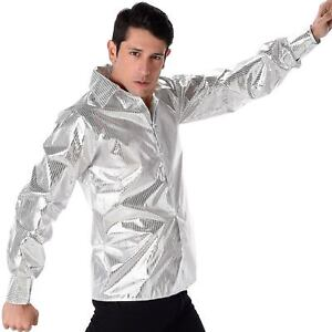 Mens Silver Sequin Disco Shirt 1970s Disco Groovy Adult Fancy Dress Outfit