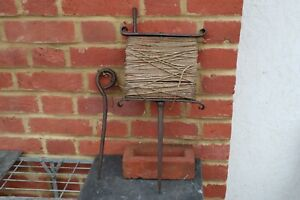 Vintage Wrought Iron Allotment Garden Line Row Marker Winder Pin and string.