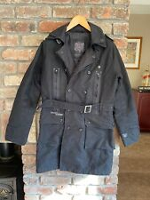 Firetrap Coat Jacket Medium Black Long Military Trenchcoat GOOD CONDITION