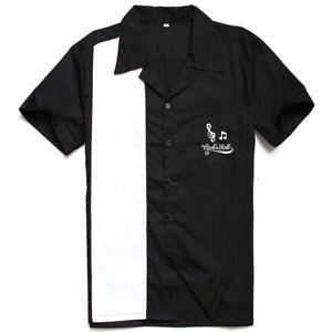 Men Shirt Rock N Roll Embroidered Rockabilly Bowling Short Sleeve Casual Shirts