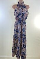 BNWOT BOOHOO Beige floral print silky maxi dress size 10 euro 38