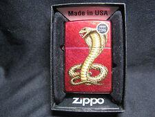 Zippo Lighter: 2013 Candy Apple Red Lighter with India Cobra Viper Snake NIB