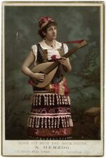 Colorful Victorian Lute Playing Lady Sells Boots & Shoes Trade Card