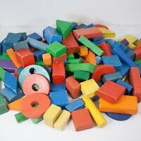 Vintage Multi - Color Playskool Wood Building Blocks - Large Lot of 120 - Lot #3