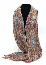 Multicolour Paisley Print Finely Pleated Scarf New