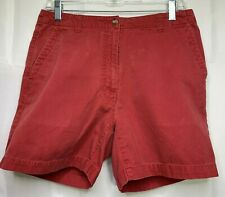 L.L Bean Women's Red Cotton Casual Chino Mid-Rise Shorts Size 10 Regular
