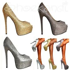 Ladies Sparkly Glitter Peep Toe Stiletto Party Prom Platform High Heels Shoes