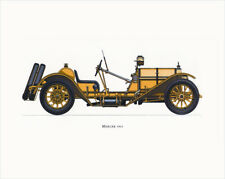 Canvas Print Vintage Car Poster Illustration - MERCER 1913 ORANGE