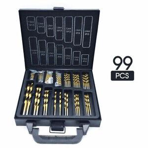 New 99Pcs HSS Metric 1.5-10mm Titanium Coated Drill Bit Set Metal Wood Plastic