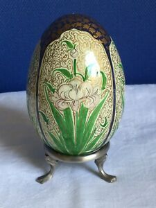 Decorative Egg. Hand Painted with Flowers. Plus Stand. 10cm Tall