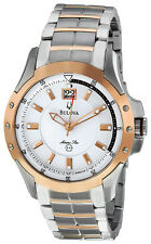 Bulova Men's 98B129 Marine Star Silver and White Dial Bracelet Watch. Unboxed.