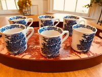 Lot of 6: Blue & White Transferware  English Cottage Coffee Mugs ENGLAND