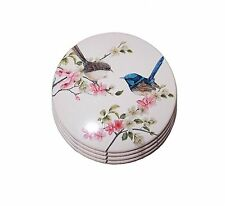 Porcelain Blue Wren Round Ceramic Coaster's  Set Of 4  ~ Australian Bird Series