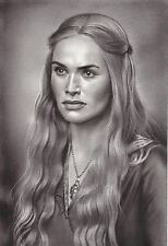 "Game of Thrones Cersei Lannister ART CHARCOAL DRAWING 8X12"" ORIGINAL"