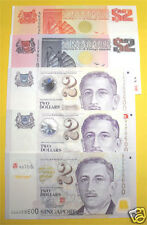 SINGAPORE SHIP & PORTRAIT SERIES 5 TYPES $2 DOLLAR SET