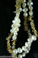 "Genuine White Keshi Pearl & Quartz Nugget beads strand necklace 36"" L"