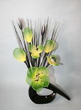 Artificial Flowers - Green Net Flower Arrangement in black Vase - Floral Display