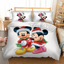 Christmas Mickey Mouse Minnie Duvet Cover Quilt Cover Pillow Cases Bedding Set