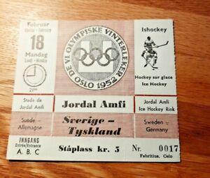 Oslo Winter Olympics 1952 ticket Hockey Sweden-Germany