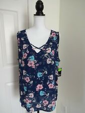 A.N.A. Womens XL Navy Blue Pink Floral Sleeveless TunicTop NWT$29