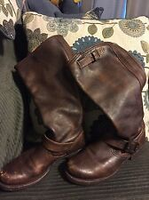 WOMENS DISTRESSED FRYE VERONICA SLOUCH BOOTS BOOT BUCKLE SIZE 7.5B MEXICO BROWN!