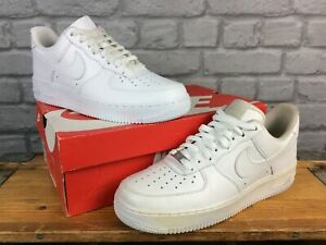 NIKE MENS 8 EU 42.5 AIR FORCE 1 LOW BASKETBALL WHITE LEATHER TRAINER T